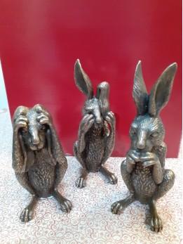 Set Of 3 Bronze Hares