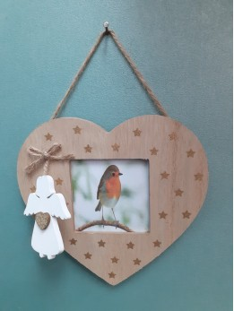 Robin Heart Frame Plaque