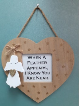 Heart Frame Plaque WHEN A FEATHER...