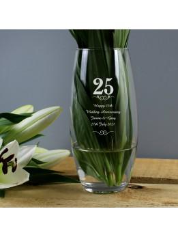 25th Anniversary Vase Personalised