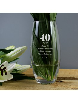 40th Anniversary Vase Personalised