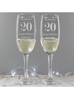 Anniversary Champagne Glasses Personalised