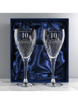 Anniversary Crystal Wine Glasses Personalised