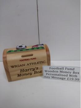 Wooden Money Box Football Theme